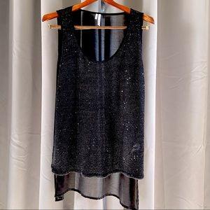 Studio Y Sheer Knit Sequin Tank Top L